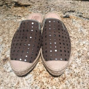 Shoes - Leather espadrille mules